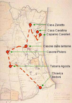 itinerario della Trafila garibaldia nel comune di Comacchio